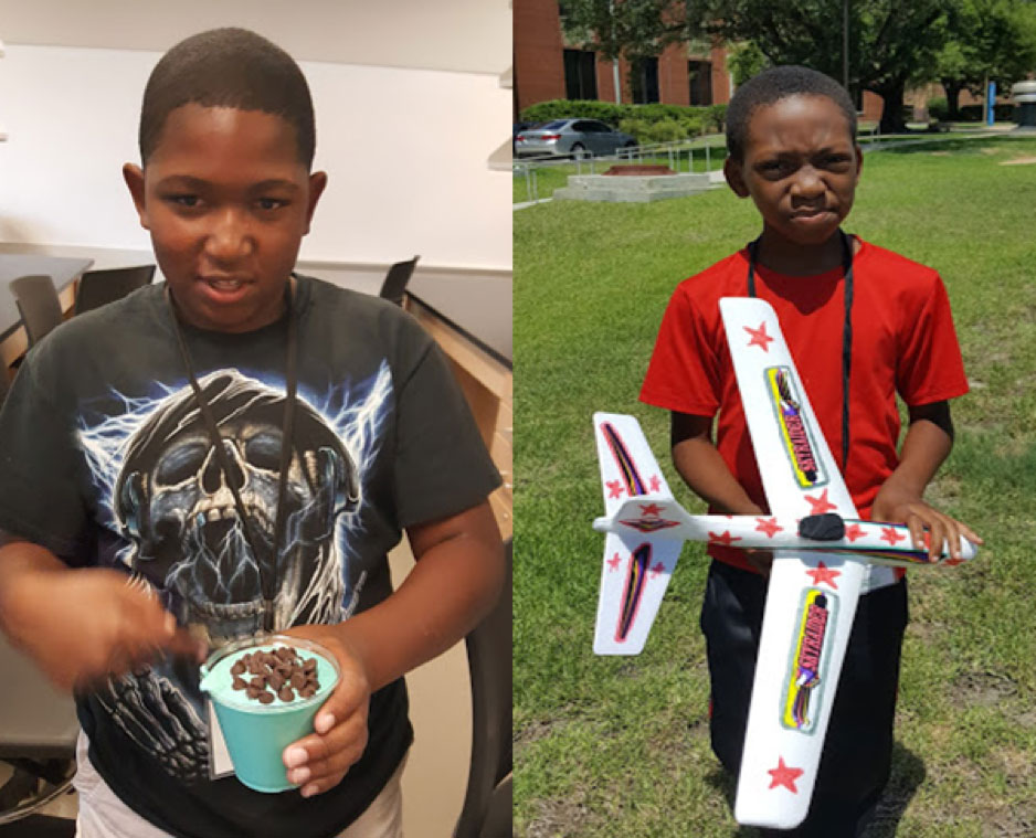Youth participants display ice cream made in the hands-on workshops in food science with Dr. Milton Daley and the drones with Dr. Ripendra Awal and Mrs. Nakita Bowman