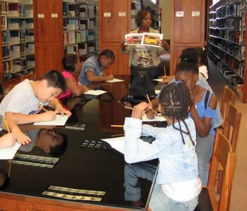 students studing in the library