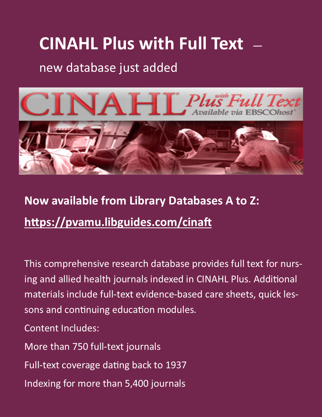 New Database Added: CINAHL Plus with Full Text