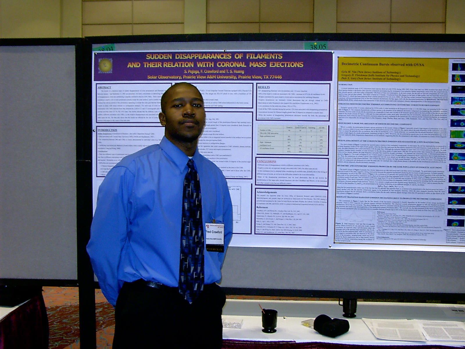 Undergraduate student Fredrick Crawford attending the AAS Meeting, June 2004 in Denver, CO.