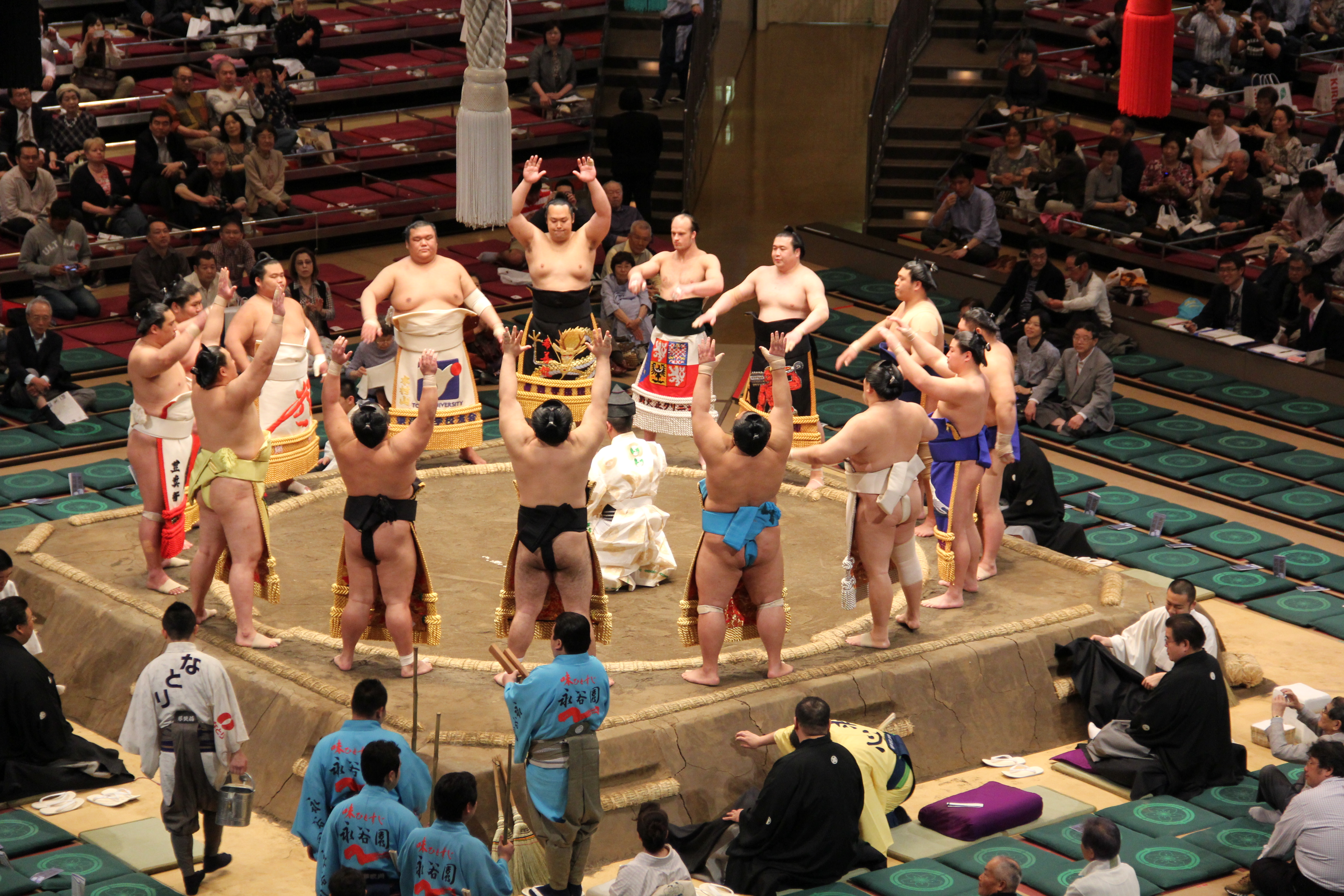 Sumo Wrestlers in their Ceremonial Aprons
