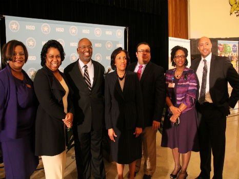President Wright, Dr. Nave and Dr. Betty Adams pose for photo with Jones Futures Academy Leaders