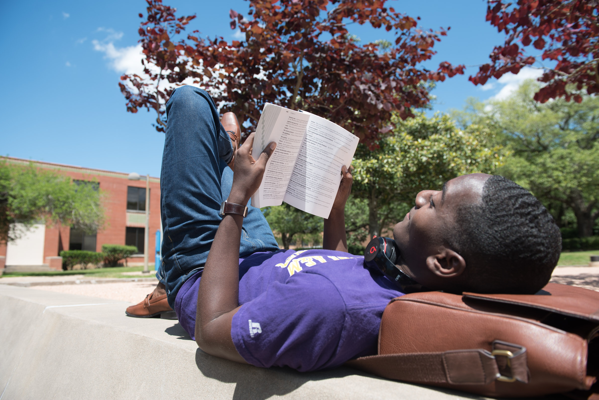 student studying outdoors